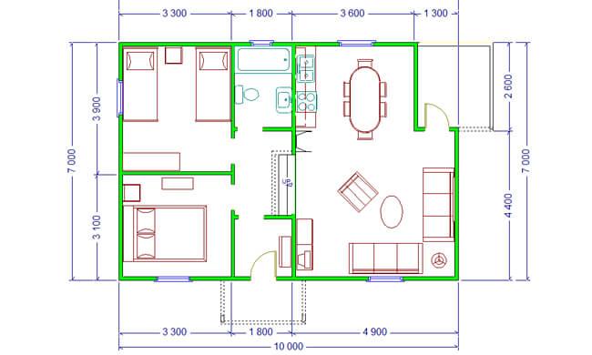 Maker montažna kuća Afrodita - osnova