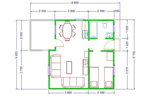 Maker montažna kuća Andrea - osnova