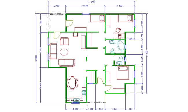 Maker montažna kuća Anita - osnova