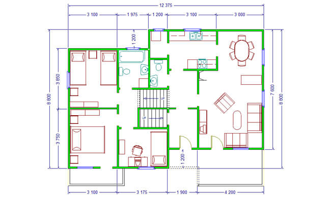 Maker montažna kuća Dajana - osnova