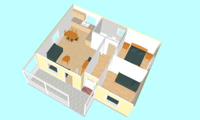 Montažna kuća Jovana - presek