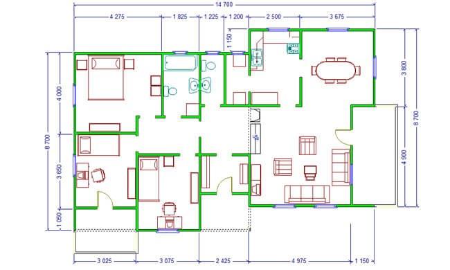 Montažne kuće Maker Talija-osnova