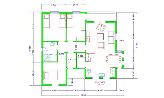 Montažne kuće Maker Una-osnova