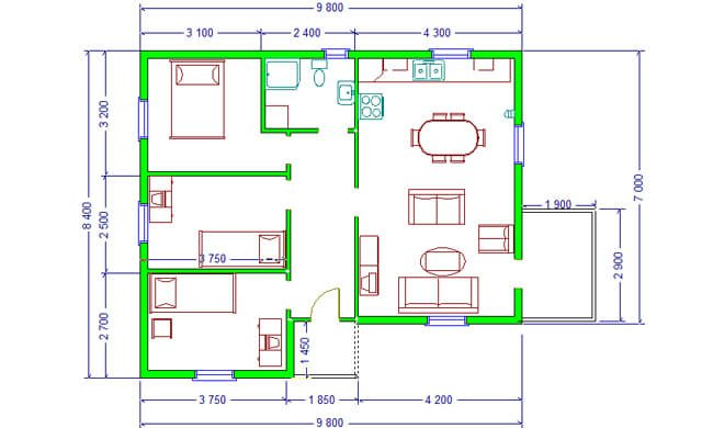 Montažne kuće Maker Verona-osnova
